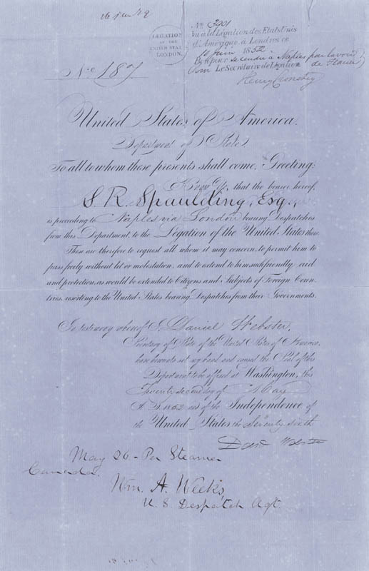 Image 1 for Daniel Webster - Document Signed 05/22/1852 co-signed by: William A. Weeks - HFSID 40823