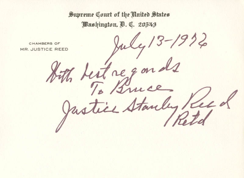 Image 1 for Associate Justice Stanley F. Reed - Autograph Note On Supreme Court Card Signed 07/13/1976 - HFSID 40964