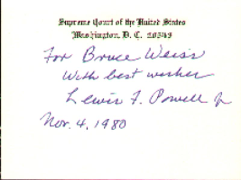 Image 1 for Associate Justice Lewis F. Powell Jr. - Inscribed Supreme Court Card Signed 11/04/1980 - HFSID 40967