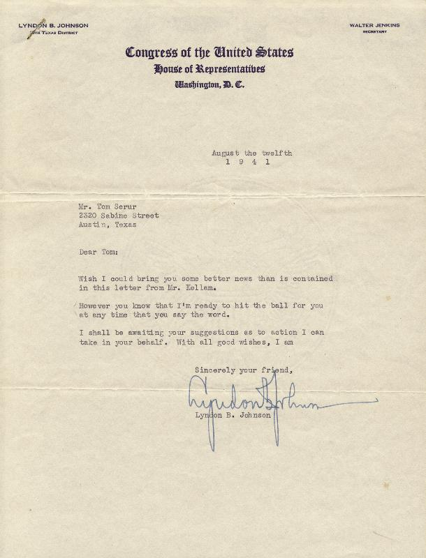 Image 1 for President Lyndon B. Johnson - Typed Letter Signed 08/12/1941 - HFSID 41095