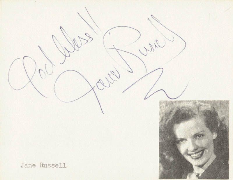 Image 1 for Jane Russell - Autograph Sentiment Signed - HFSID 411