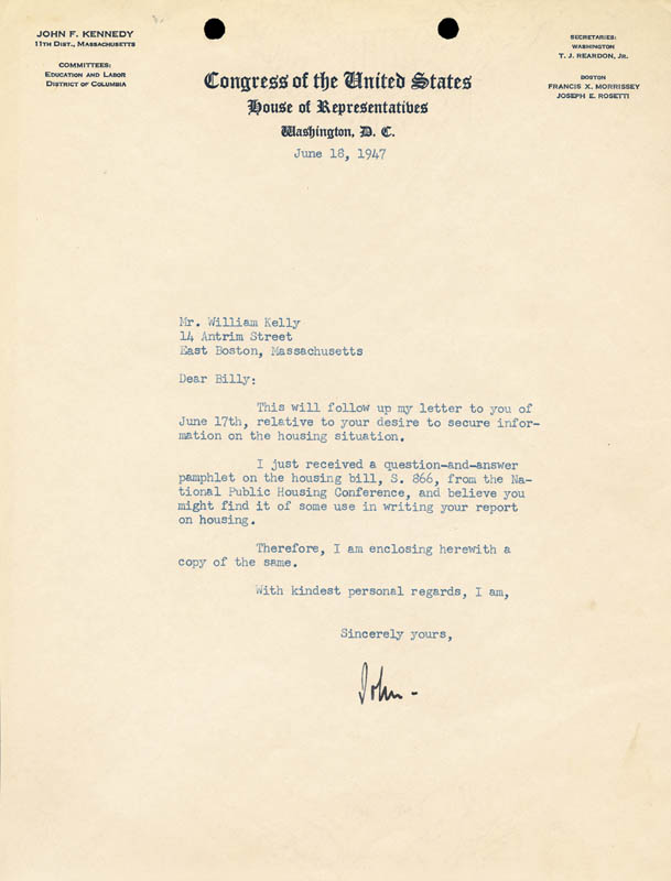 Image 1 for President John F. Kennedy - Typed Letter Signed 06/18/1947 - HFSID 41228