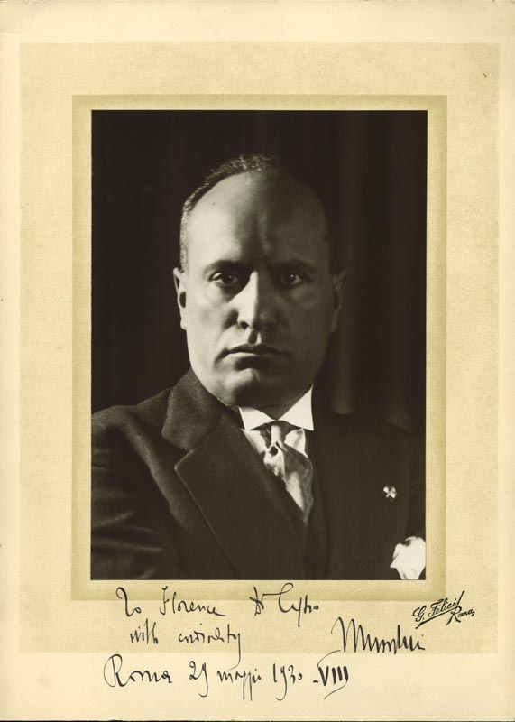 Image 1 for Prime Minister Benito (Il Duce) Mussolini (Italy) - Inscribed Photograph Mount Signed 03/29/1930 - HFSID 41398