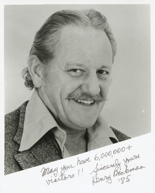 Image 1 for Henry Beckman - Autographed Signed Photograph 1985 - HFSID 41476