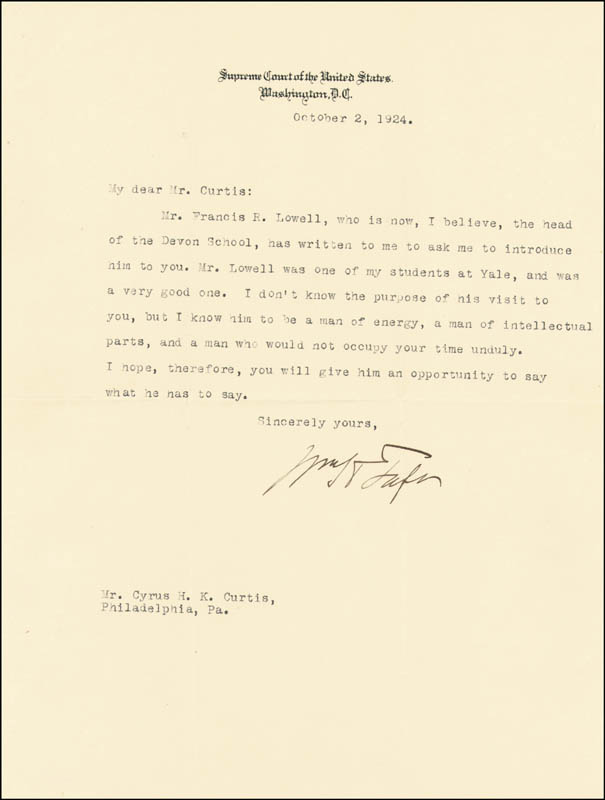 Image 1 for President William H. Taft - Typed Letter Signed 10/02/1924 - HFSID 41524