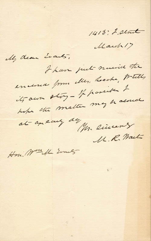 Image 1 for Chief Justice Morrison R. Waite - Autograph Letter Signed 03/17/1884 - HFSID 41527