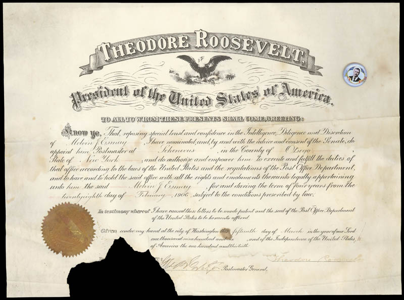 Image 1 for President Theodore Roosevelt - Civil Appointment Signed 03/15/1906 co-signed by: George B. Cortelyou - HFSID 41624