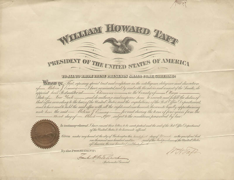 Image 1 for President William H. Taft - Civil Appointment Signed 03/21/1910 co-signed by: Frank H. Hitchcock - HFSID 41625