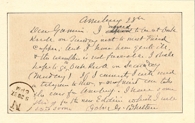 Image 1 for John Greenleaf Whittier - Autograph Post Card Signed 05/28/1887 - HFSID 41636