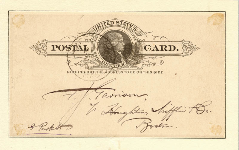Image 3 for John Greenleaf Whittier - Autograph Post Card Signed 05/28/1887 - HFSID 41636