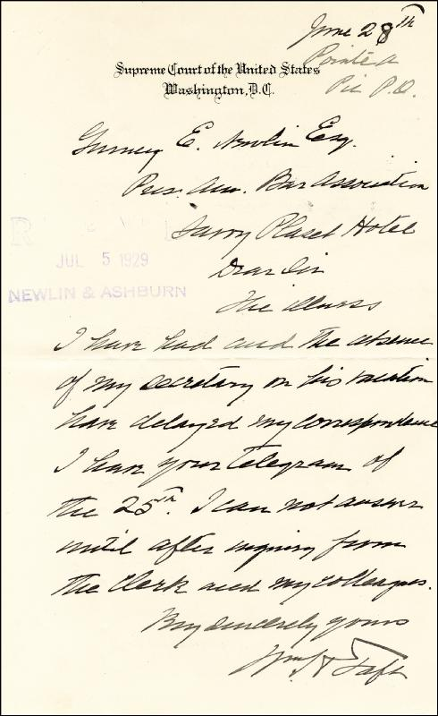 Image 1 for President William H. Taft - Autograph Letter Signed 06/28 - HFSID 41693