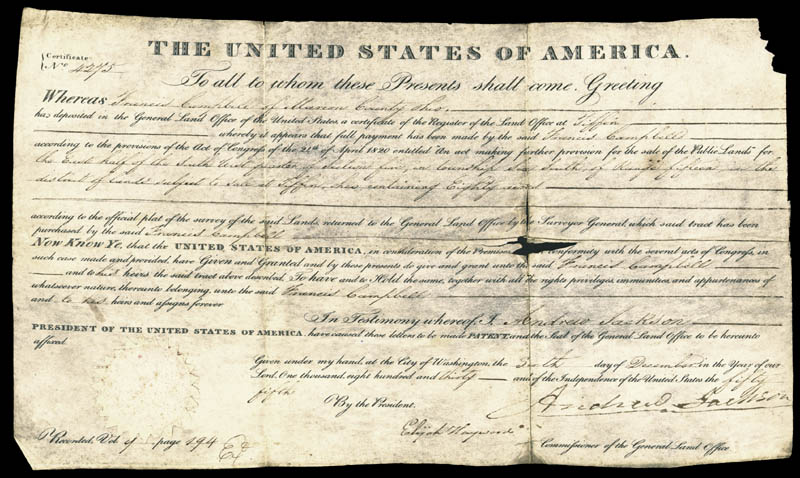 Image 1 for President Andrew Jackson - Land Grant Signed 12/06/1830 co-signed by: Elijah Hayward - HFSID 41770