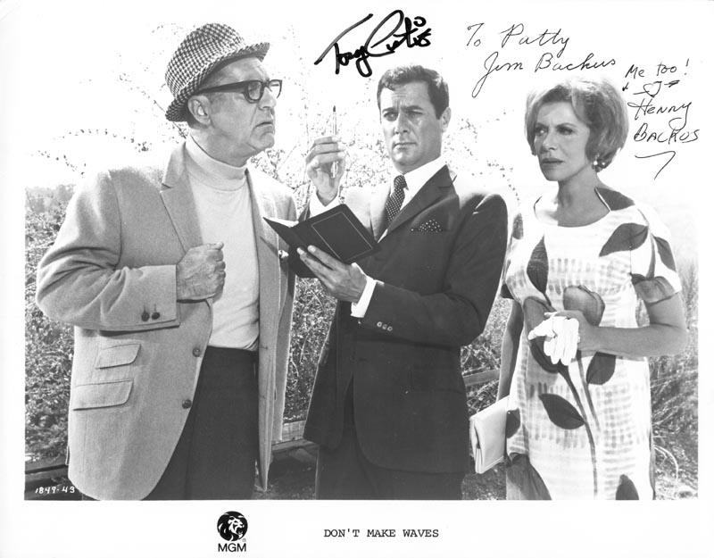 Image 1 for Don''T Make Waves Movie Cast - Autographed Signed Photograph co-signed by: Jim Backus, Henny (Mrs. Jim) Backus, Tony Curtis - HFSID 41879