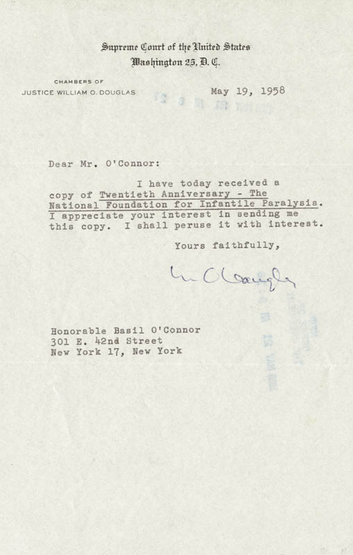 Image 1 for Associate Justice William O. Douglas - Typed Letter Signed 05/19/1958 - HFSID 41890