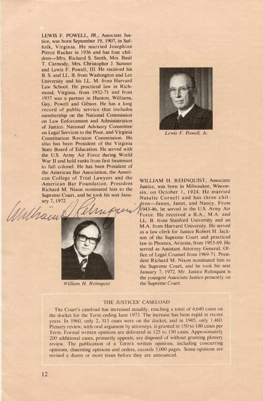 Image 3 for Associate Justice William J. Brennan Jr. - Pamphlet Signed with co-signers - HFSID 41926