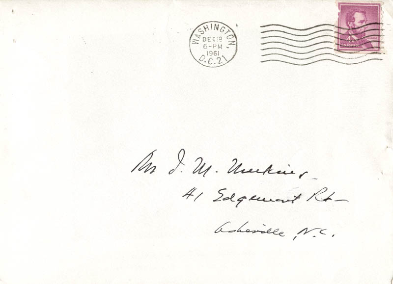 Image 3 for Associate Justice Tom C. Clark - Autograph Envelope Signed Circa 1961 - HFSID 41927