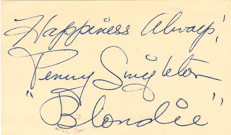 Image 1 for Penny Singleton - Autograph Sentiment Signed Circa 1949 - HFSID 4205