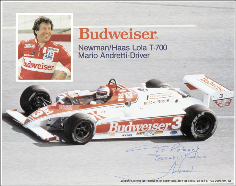 Image 1 for Mario Andretti - Inscribed Advertisement Signed - HFSID 42096