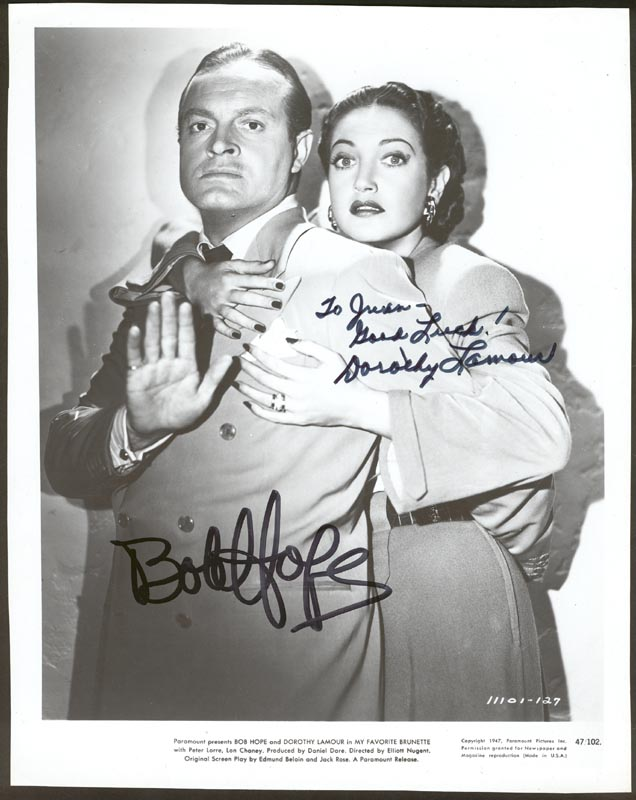 Image 1 for My Favorite Brunette Movie Cast - Inscribed Printed Photograph Signed In Ink co-signed by: Bob Hope, Dorothy Lamour - HFSID 42163