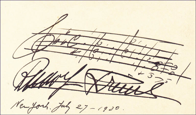 Image 1 for Rudolf Friml - Autograph Musical Quotation Signed 07/27/1930 - HFSID 42263