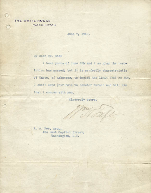 Image 1 for President William H. Taft - Typed Letter Signed 06/07/1910 - HFSID 42314