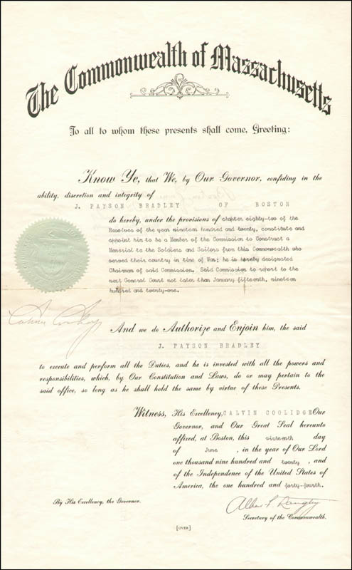 Image 1 for President Calvin Coolidge - Civil Appointment Signed 06/16/1920 co-signed by: Albert Perkins Langtry - HFSID 42321