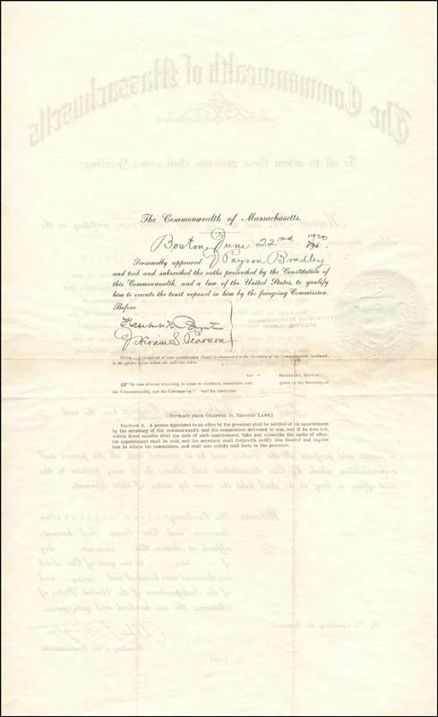 Image 3 for President Calvin Coolidge - Civil Appointment Signed 06/16/1920 co-signed by: Albert Perkins Langtry - HFSID 42321
