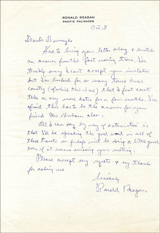 Image 1 for President Ronald Reagan - Autograph Letter Signed 10/8 - HFSID 42365