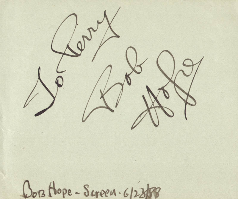 Image 1 for Bob Hope - Inscribed Signature Circa 1988 - HFSID 424
