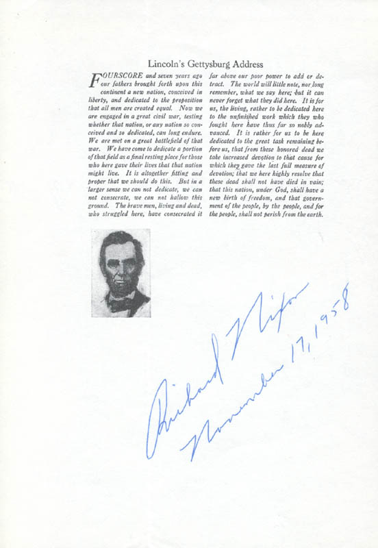 Image 1 for President Richard M. Nixon - Typescript Signed 11/17/1958 - HFSID 42417