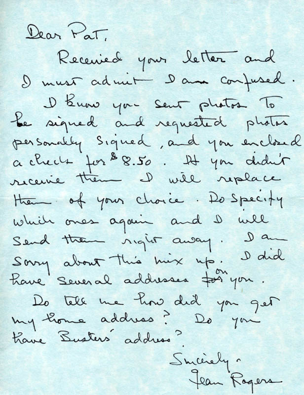 Image 1 for Jean Rogers - Autograph Letter Signed - HFSID 4253