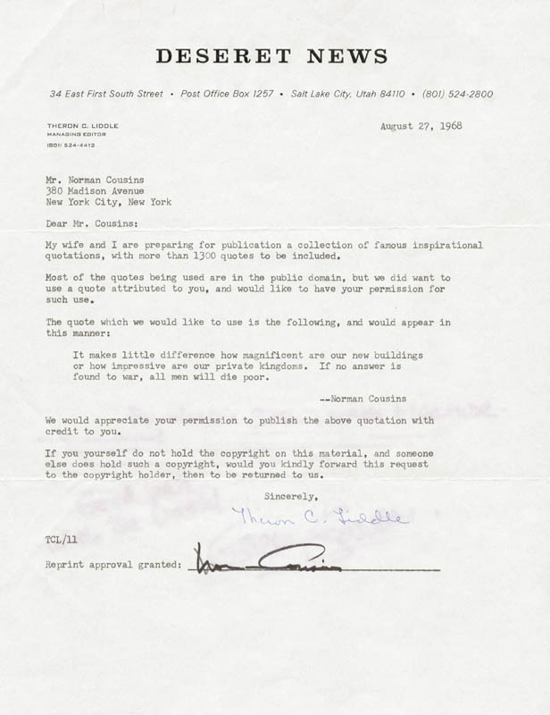 Norman Cousins - Document Signed 08/27/1968 with Cosigners ...