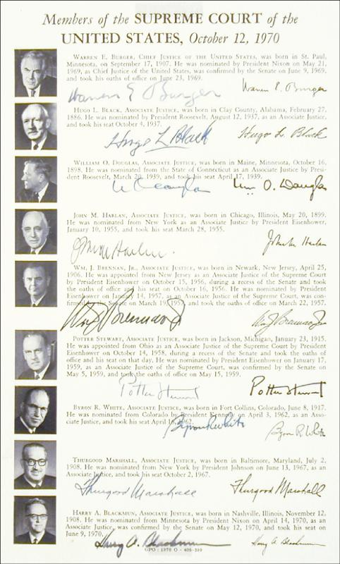 Image 3 for The Warren E. Burger Court - Autograph Circa 1970 with co-signers - HFSID 42640