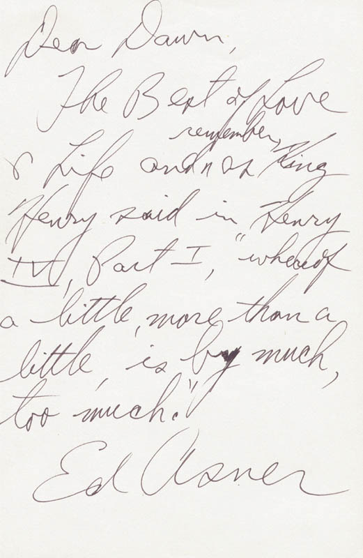 Image 1 for Ed Asner - Autograph Note Signed - HFSID 4276