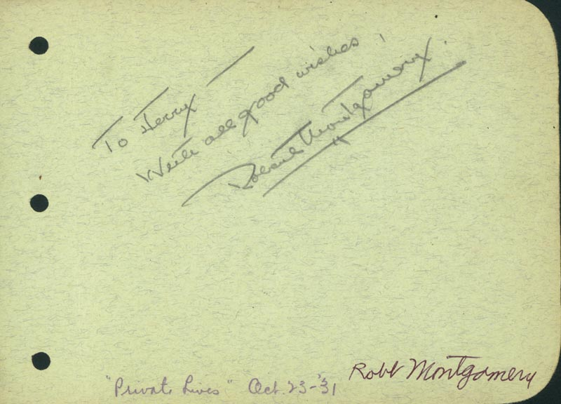 Image 1 for Robert Montgomery - Autograph Note Signed co-signed by: Bert Wheeler - HFSID 42810
