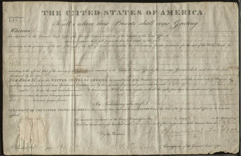 Image 1 for President Andrew Jackson - Land Grant Signed 04/13/1829 co-signed by: George Graham - HFSID 42939
