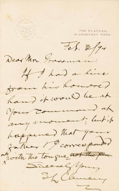 Image 1 for Samuel L. 'Mark Twain' Clemens - Autograph Letter Signed 02/03/1894 - HFSID 4304