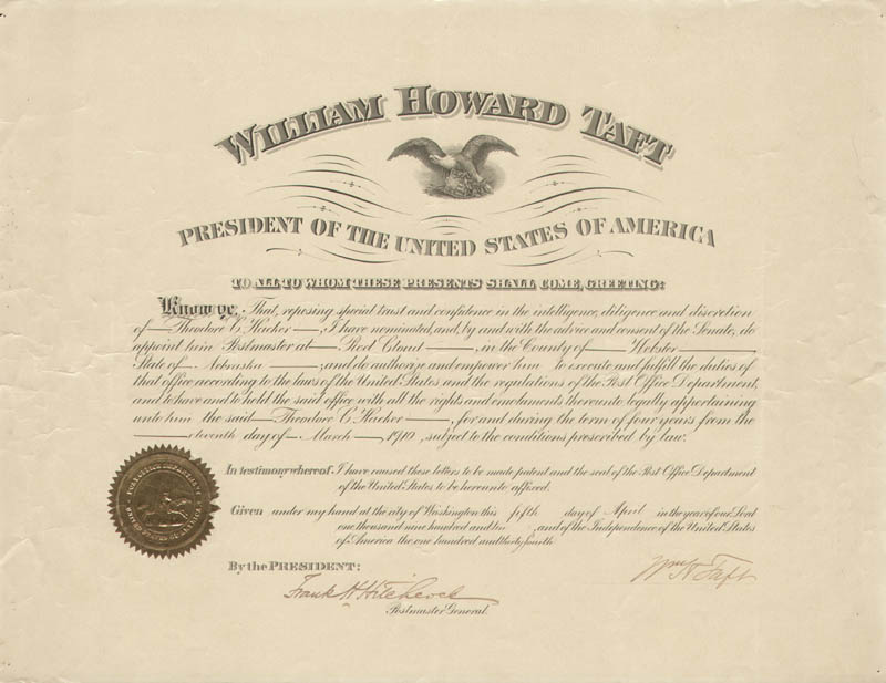 Image 1 for President William H. Taft - Civil Appointment Signed 04/05/1910 co-signed by: Frank H. Hitchcock - HFSID 43185