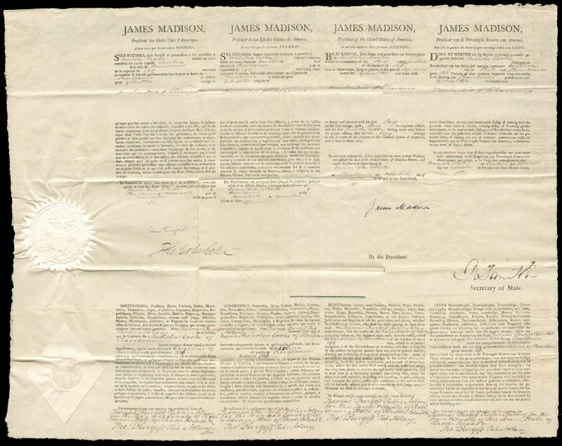 Image 1 for President James Madison - Four Language Ships Papers Signed 11/20/1811 co-signed by: Robert Smith (Politician), Thomas Coles, Thomas Burgess - HFSID 43285
