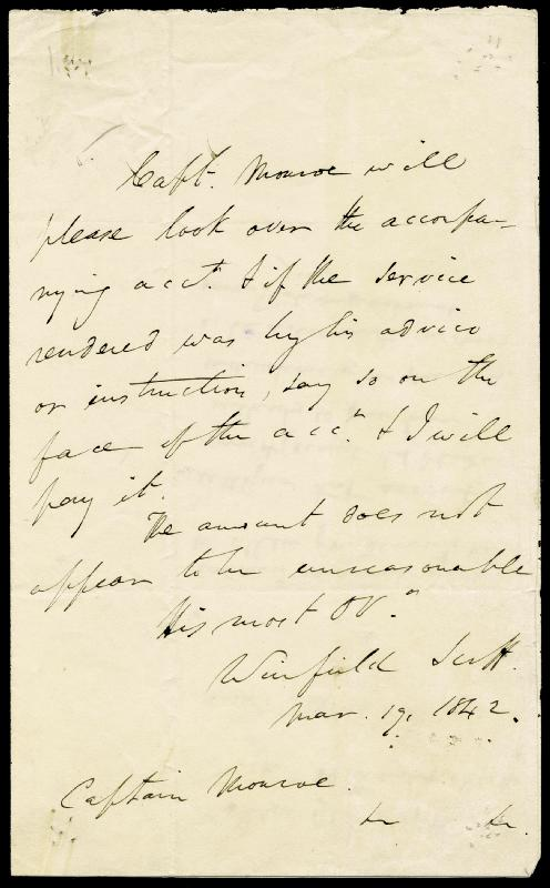 Image 1 for Lt. General Winfield Scott - Autograph Letter Signed 03/19/1842 - HFSID 43417