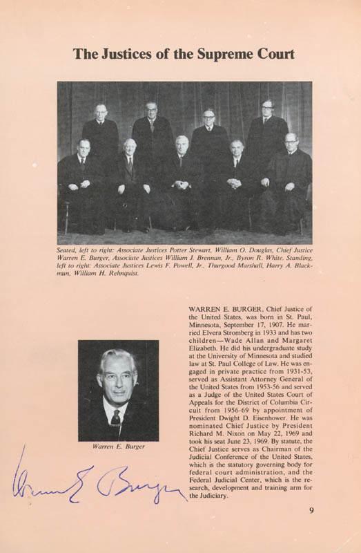 Image 1 for Chief Justice Warren E. Burger - Book Page Signed Circa 1973 with co-signers - HFSID 43443