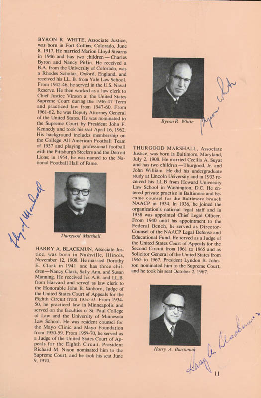 Image 4 for Chief Justice Warren E. Burger - Book Page Signed Circa 1973 with co-signers - HFSID 43443