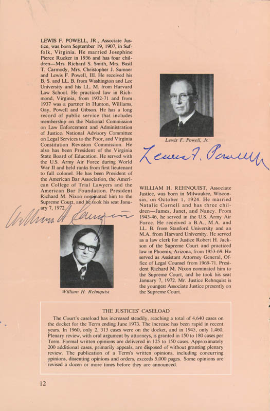 Image 5 for Chief Justice Warren E. Burger - Book Page Signed Circa 1973 with co-signers - HFSID 43443
