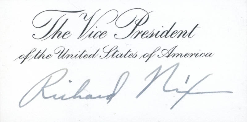 Image 1 for President Richard M. Nixon - Vice Presidential Card Signed - HFSID 4357