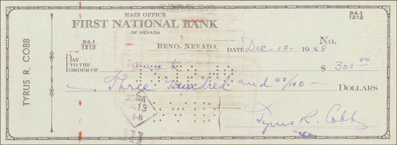 Image 3 for Ty Cobb - Autographed Signed Check 12/10/1948 - HFSID 43578