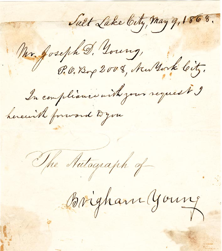 Image 1 for Brigham Young - Manuscript Letter Signed 05/09/1868 - HFSID 43664