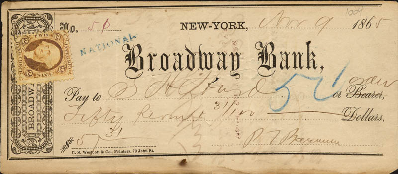 Image 1 for P.T. Barnum - Autographed Signed Check 11/09/1865 co-signed by: S. H. Hurd - HFSID 43722