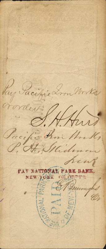 Image 3 for P.T. Barnum - Autographed Signed Check 11/09/1865 co-signed by: S. H. Hurd - HFSID 43722