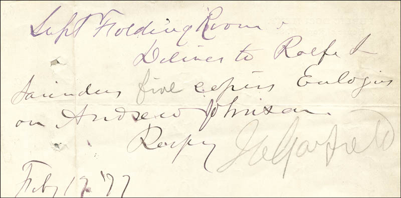 Image 1 for President James A. Garfield - Manuscript Note Signed 02/17/1877 - HFSID 43738