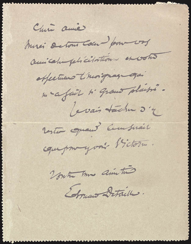 Image 1 for Edouard Detaille - Autograph Letter Signed - HFSID 44044